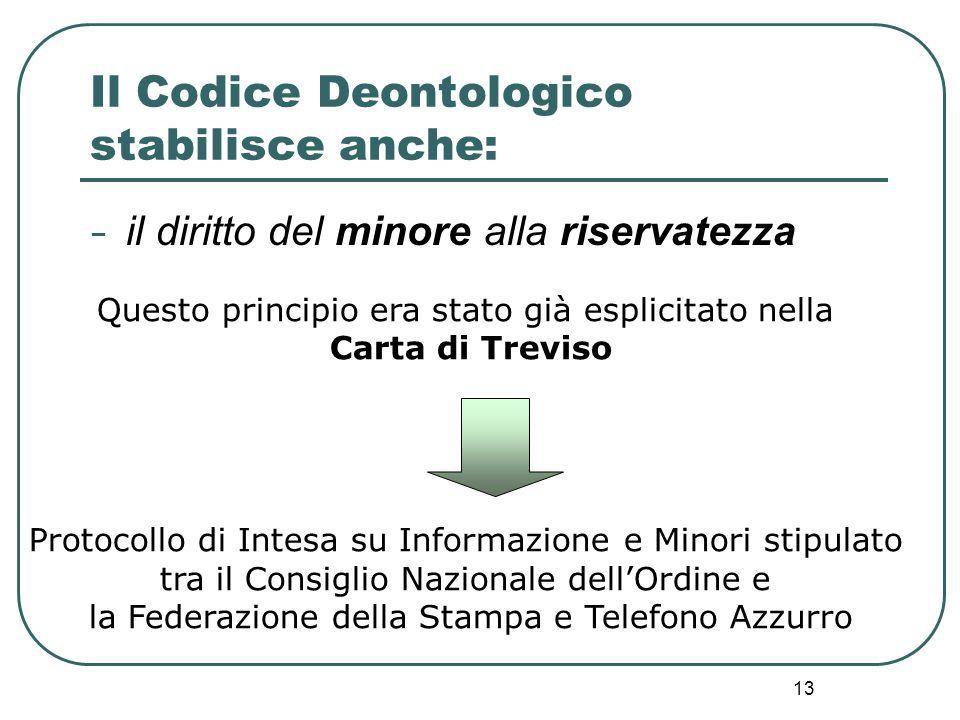 13 Questo principio era stato già esplicitato nella Carta di Treviso Protocollo di Intesa su Informazione e Minori stipulato tra il Consiglio Nazional