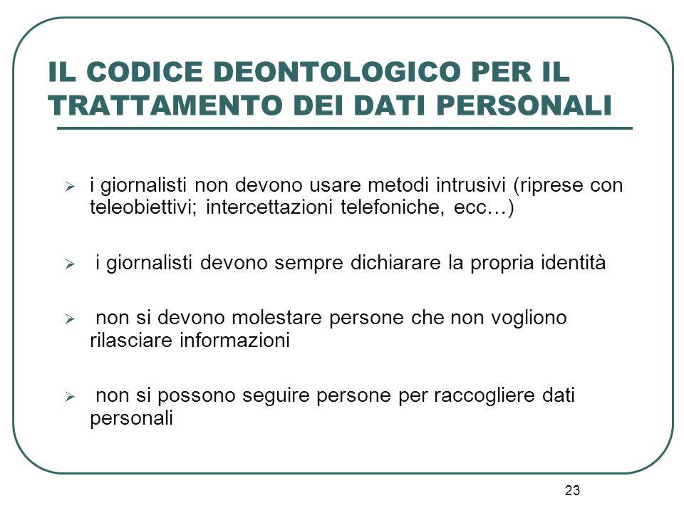 23 IL CODICE DEONTOLOGICO PER IL TRATTAMENTO DEI DATI PERSONALI  i giornalisti non devono usare metodi intrusivi (riprese con teleobiettivi; intercet