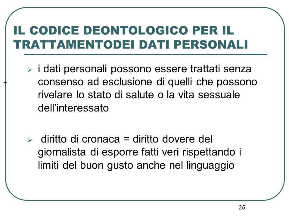 25 - IL CODICE DEONTOLOGICO PER IL TRATTAMENTODEI DATI PERSONALI  i dati personali possono essere trattati senza consenso ad esclusione di quelli che
