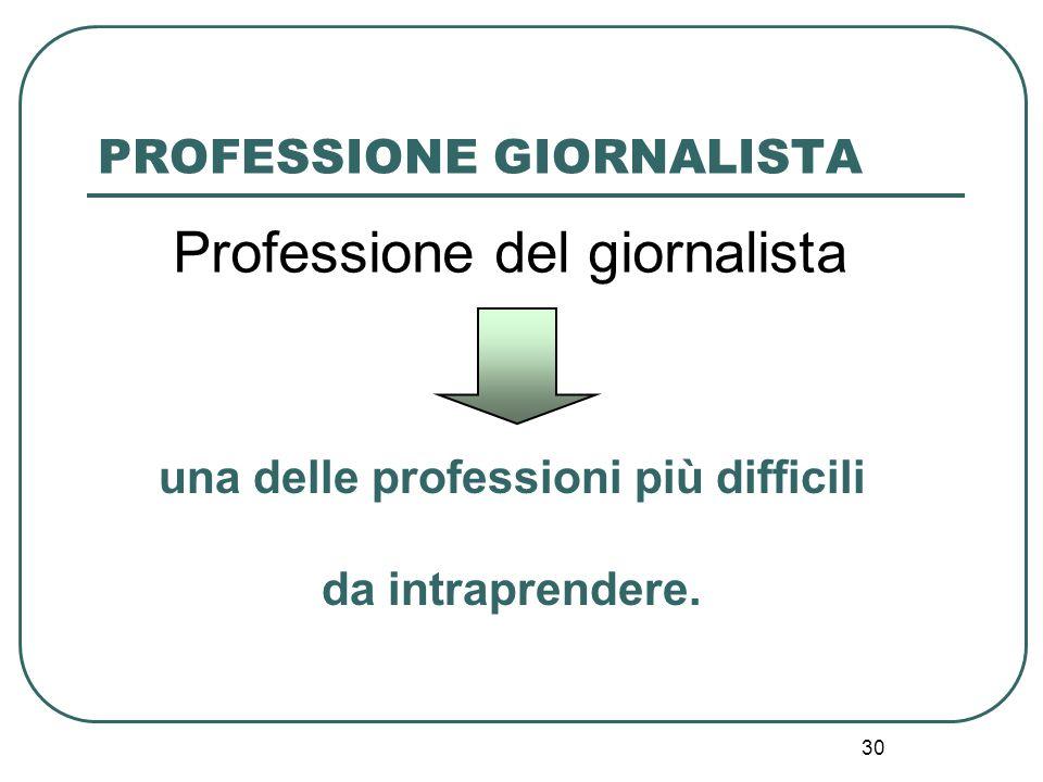 30 Professione del giornalista una delle professioni più difficili da intraprendere. PROFESSIONE GIORNALISTA