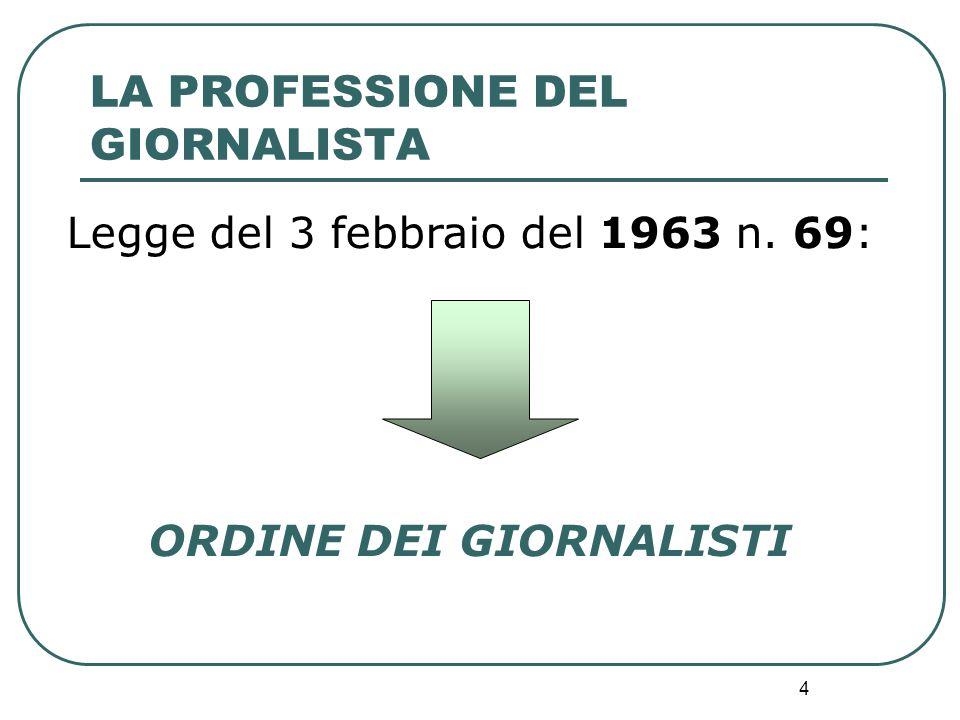 4 Legge del 3 febbraio del 1963 n. 69: ORDINE DEI GIORNALISTI LA PROFESSIONE DEL GIORNALISTA