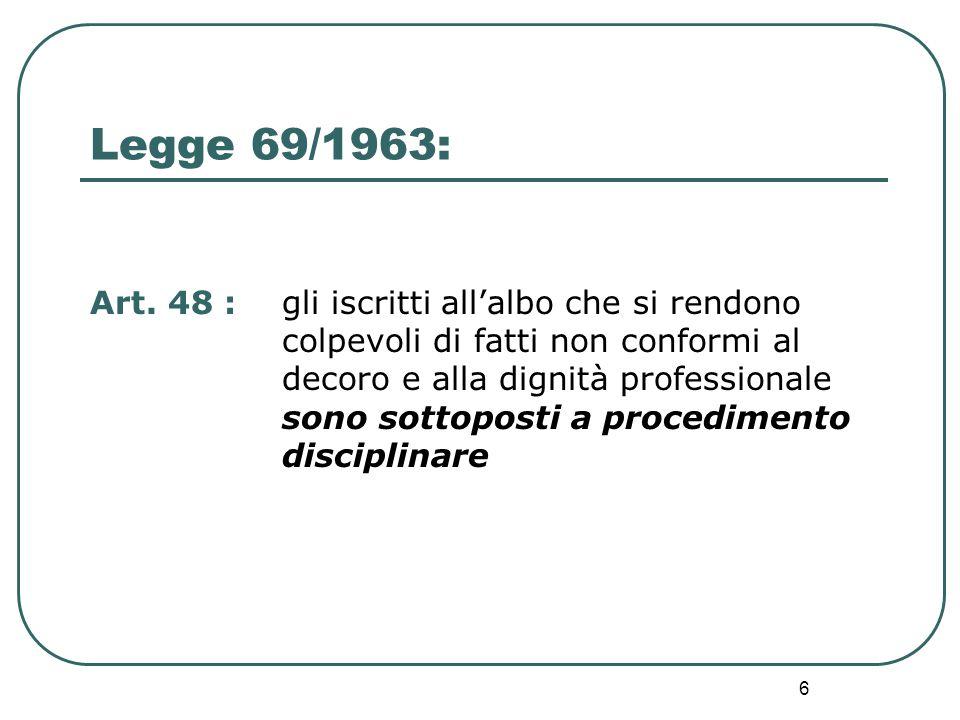 6 Art. 48 : gli iscritti all'albo che si rendono colpevoli di fatti non conformi al decoro e alla dignità professionale sono sottoposti a procedimento