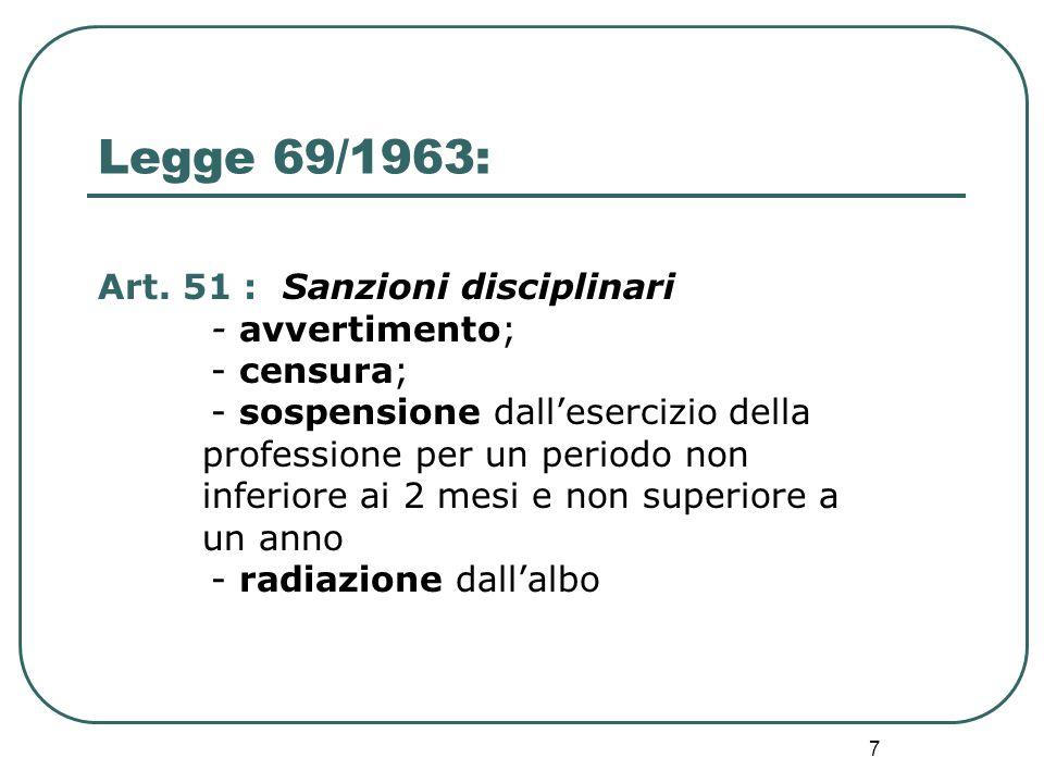 7 Legge 69/1963: Art. 51 : Sanzioni disciplinari - avvertimento; - censura; - sospensione dall'esercizio della professione per un periodo non inferior