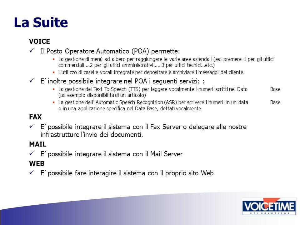 La Suite VOICE Il Posto Operatore Automatico (POA) permette:  La gestione di menù ad albero per raggiungere le varie aree aziendali (es: premere 1 per gli uffici commerciali….2 per gli uffici amministrativi…..