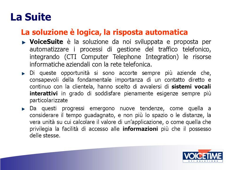 La Suite La soluzione è logica, la risposta automatica VoiceSuite è la soluzione da noi sviluppata e proposta per automatizzare i processi di gestione del traffico telefonico, integrando (CTI Computer Telephone Integration) le risorse informatiche aziendali con la rete telefonica.