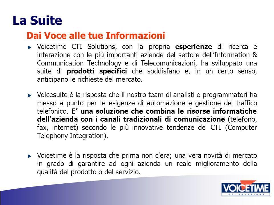 La Suite Dai Voce alle tue Informazioni Voicetime CTI Solutions, con la propria esperienze di ricerca e interazione con le più importanti aziende del settore dell'Information & Communication Technology e di Telecomunicazioni, ha sviluppato una suite di prodotti specifici che soddisfano e, in un certo senso, anticipano le richieste del mercato.