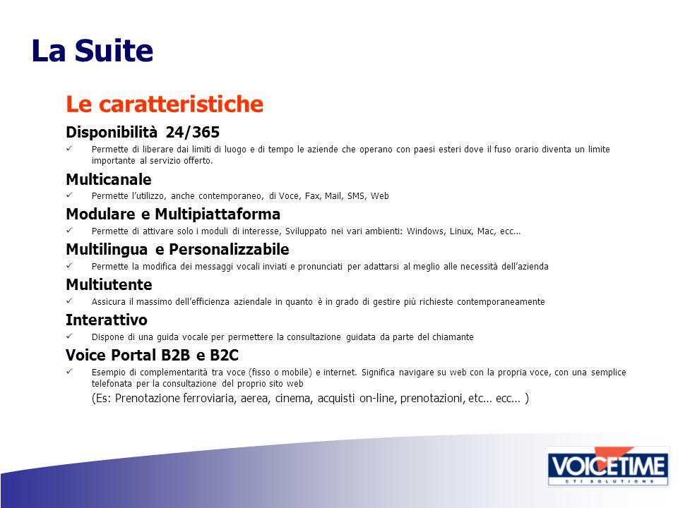 La Suite Le caratteristiche Disponibilità 24/365 Permette di liberare dai limiti di luogo e di tempo le aziende che operano con paesi esteri dove il fuso orario diventa un limite importante al servizio offerto.