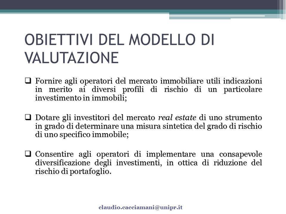 METODOLOGIA  Il modello consente di misurare il coefficiente di rischio di uno specifico investimento immobiliare;  Il modello è stato realizzato su applicativo Excel;  Sono individuati i diversi fattori di rischio gravanti sulle unità immobiliari.