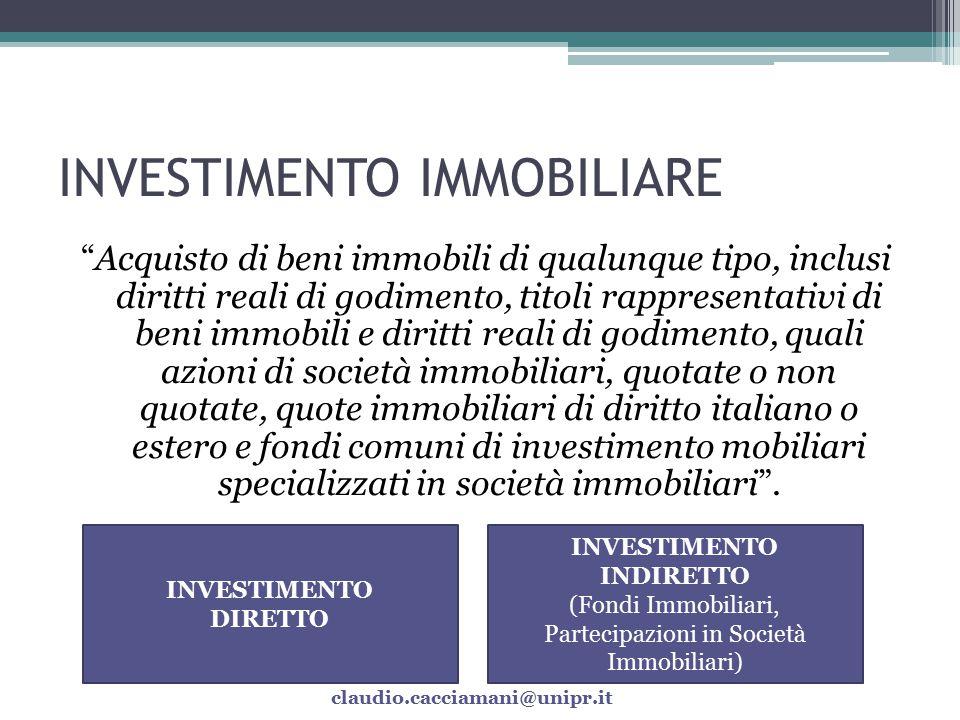 VANTAGGI dell'INVESTIMENTO IMMOBILIARE Bassa o negativa correlazione con i rendimenti delle attività finanziarie.
