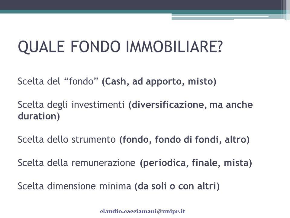 FONDI IMMOBILIARI QUOTATI: QUOTAZIONI A SCONTO… I fondi immobiliari quotati stanno presentando condizioni di sconto delle quote: -- Liquidità.