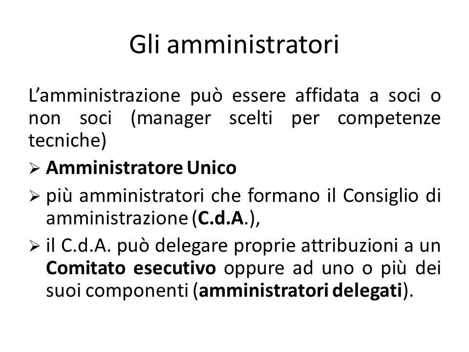Gli amministratori  LA gestione dell'impresa è affidata in modo esclusivo agli amministratori.  Gli amministratori sono nominati dalla maggioranza d