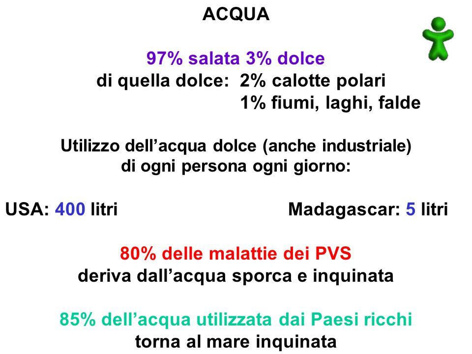 ACQUA 97% salata 3% dolce di quella dolce: 2% calotte polari 1% fiumi, laghi, falde Utilizzo dell'acqua dolce (anche industriale) di ogni persona ogni