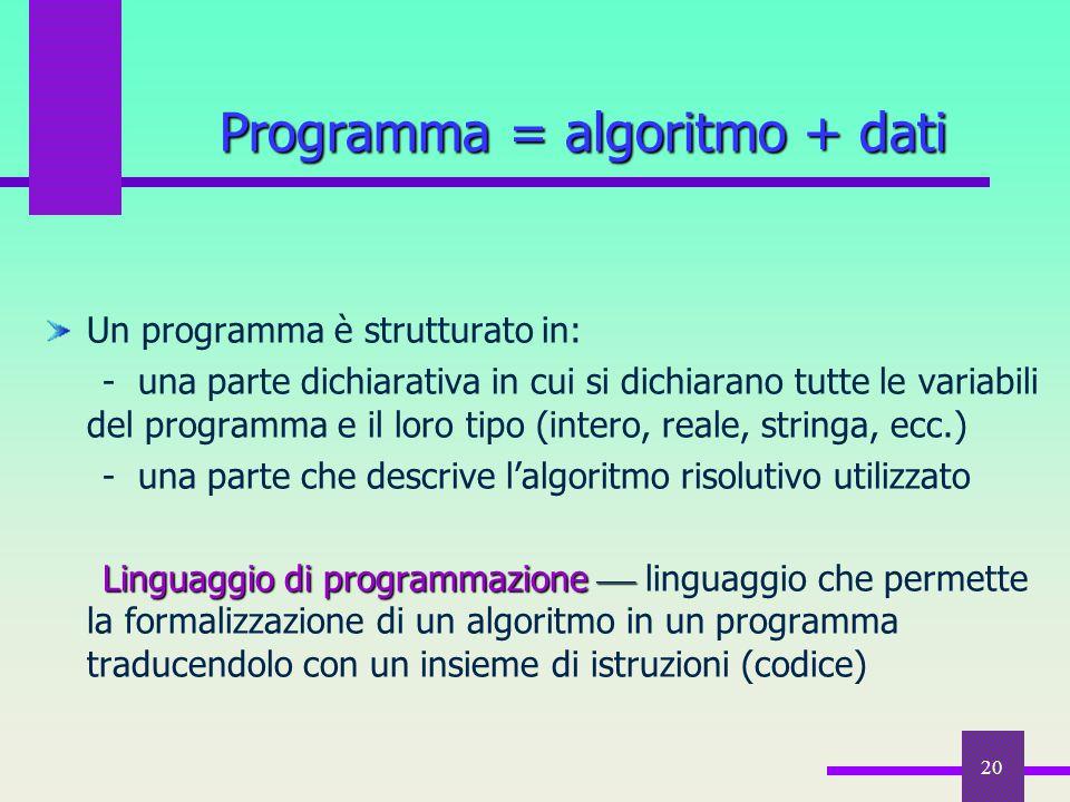 20 Un programma è strutturato in: - una parte dichiarativa in cui si dichiarano tutte le variabili del programma e il loro tipo (intero, reale, string