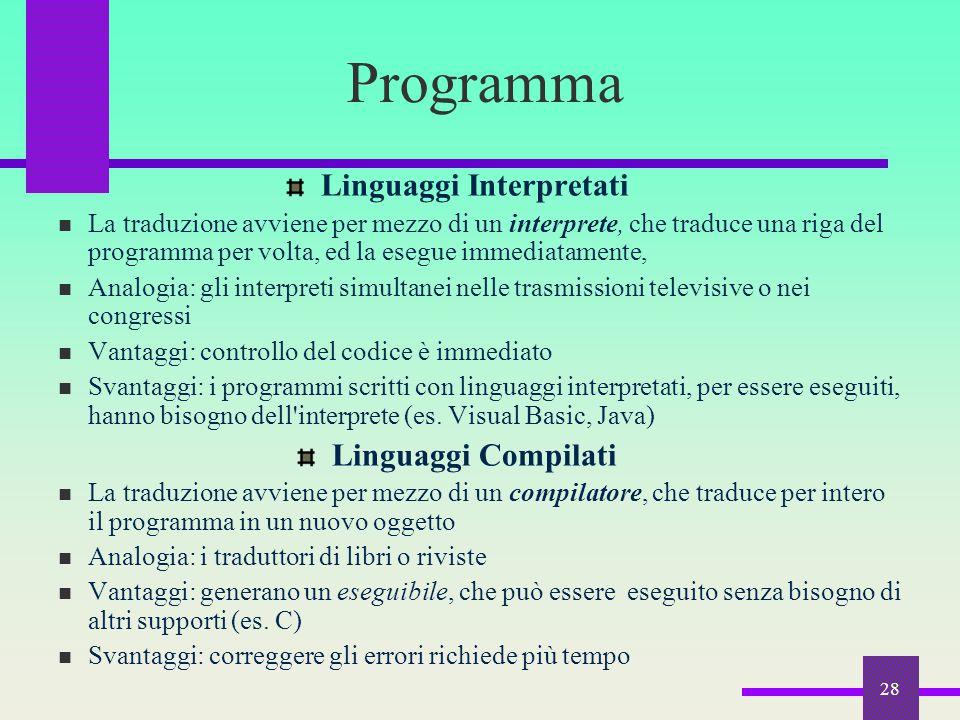 28 Programma Linguaggi Interpretati La traduzione avviene per mezzo di un interprete, che traduce una riga del programma per volta, ed la esegue immed