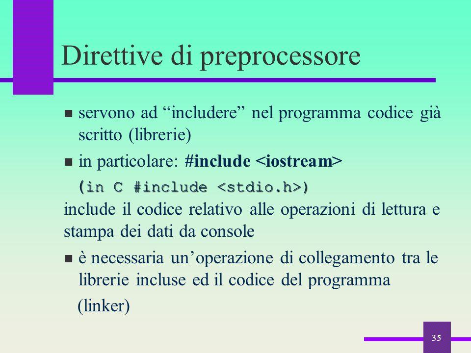 """35 Direttive di preprocessore servono ad """"includere"""" nel programma codice già scritto (librerie) in particolare: #include ( in C #include ) ( in C #in"""