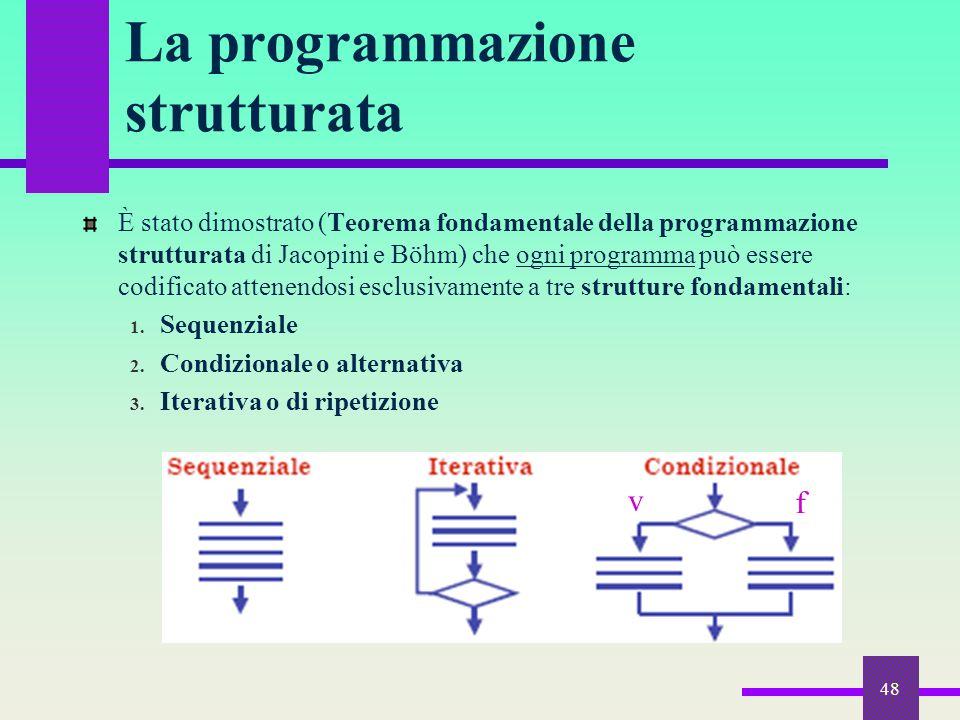 48 La programmazione strutturata È stato dimostrato (Teorema fondamentale della programmazione strutturata di Jacopini e Böhm) che ogni programma può