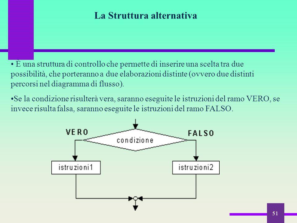 51 La Struttura alternativa È una struttura di controllo che permette di inserire una scelta tra due possibilità, che porteranno a due elaborazioni di