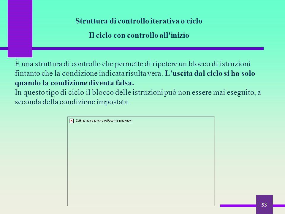 53 Struttura di controllo iterativa o ciclo Il ciclo con controllo all'inizio È una struttura di controllo che permette di ripetere un blocco di istru