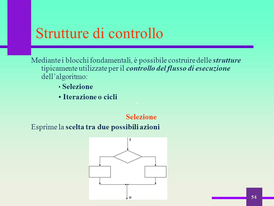 54 Strutture di controllo Mediante i blocchi fondamentali, è possibile costruire delle strutture tipicamente utilizzate per il controllo del flusso di