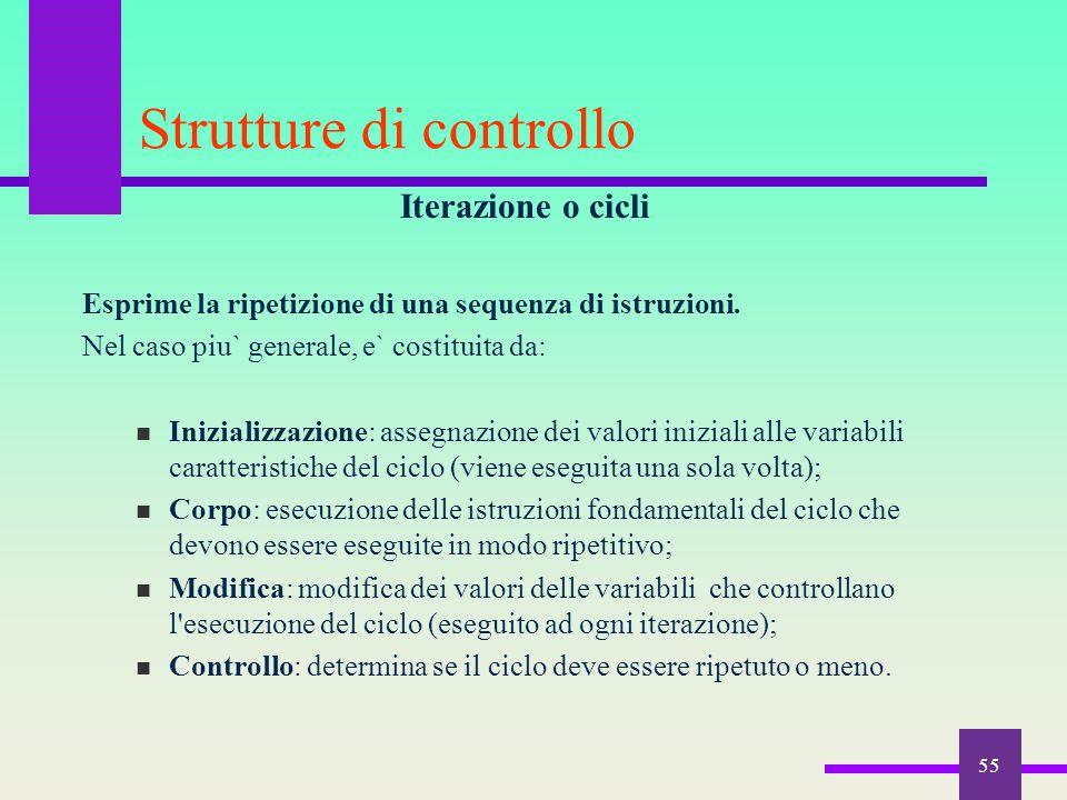 55 Strutture di controllo Iterazione o cicli Esprime la ripetizione di una sequenza di istruzioni. Nel caso piu` generale, e` costituita da: Inizializ
