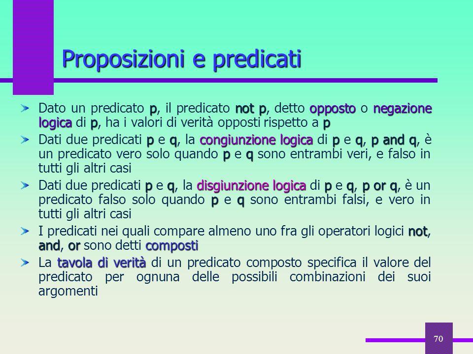 70 pnotpoppostonegazione logicap p Dato un predicato p, il predicato not p, detto opposto o negazione logica di p, ha i valori di verità opposti rispe