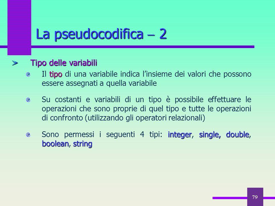 79 Tipo delle variabili tipo Il tipo di una variabile indica l'insieme dei valori che possono essere assegnati a quella variabile Su costanti e variab