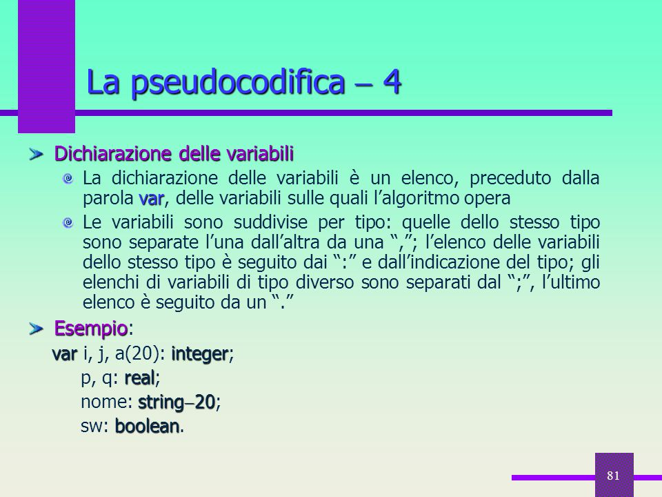 81 Dichiarazione delle variabili var La dichiarazione delle variabili è un elenco, preceduto dalla parola var, delle variabili sulle quali l'algoritmo