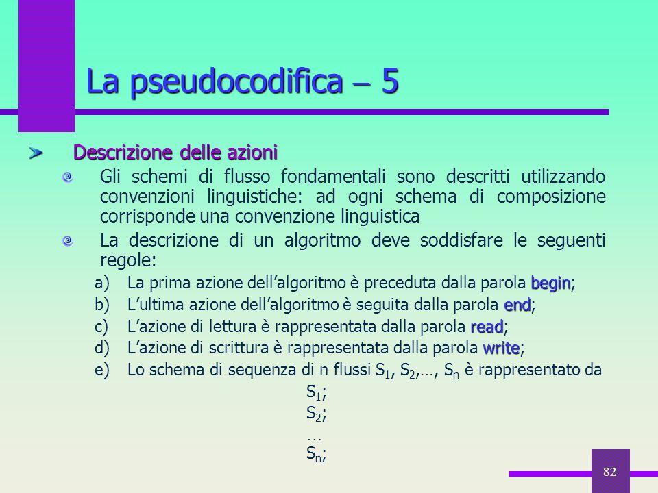 82 Descrizione delle azioni Gli schemi di flusso fondamentali sono descritti utilizzando convenzioni linguistiche: ad ogni schema di composizione corr