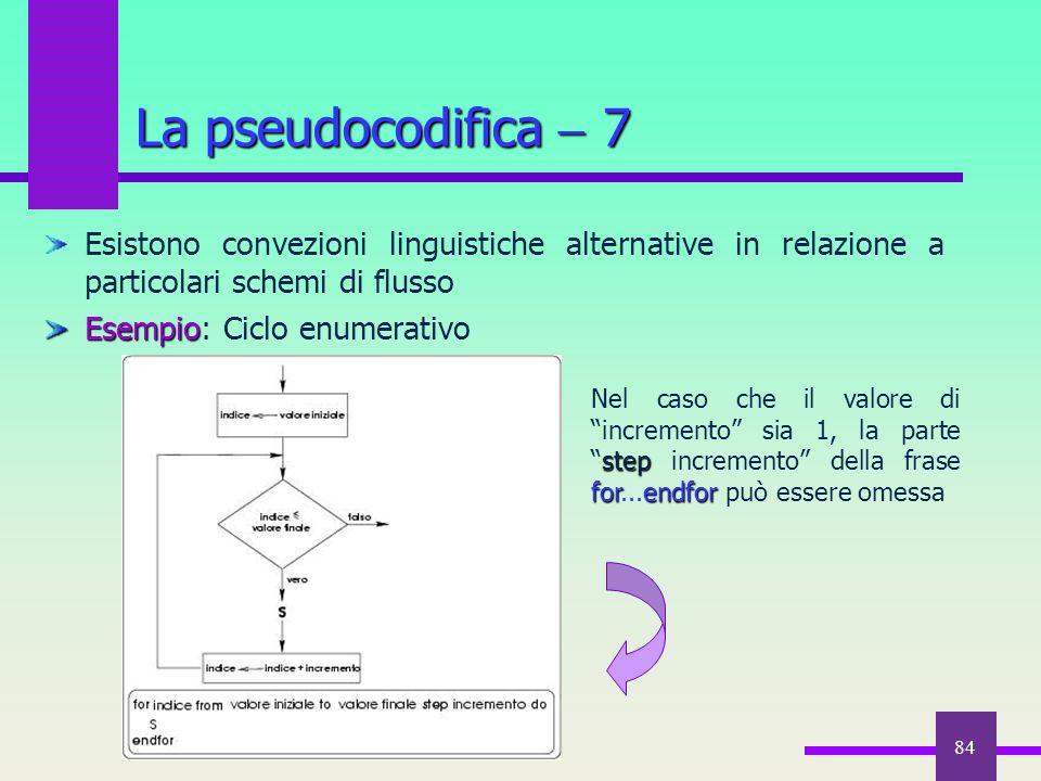 84 Esistono convezioni linguistiche alternative in relazione a particolari schemi di flusso Esempio Esempio: Ciclo enumerativo La pseudocodifica  7 s