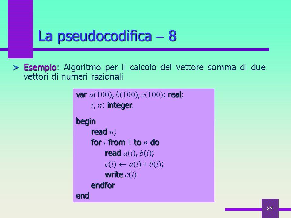 85 Esempio Esempio: Algoritmo per il calcolo del vettore somma di due vettori di numeri razionali La pseudocodifica  8 var real var a(100), b(100), c