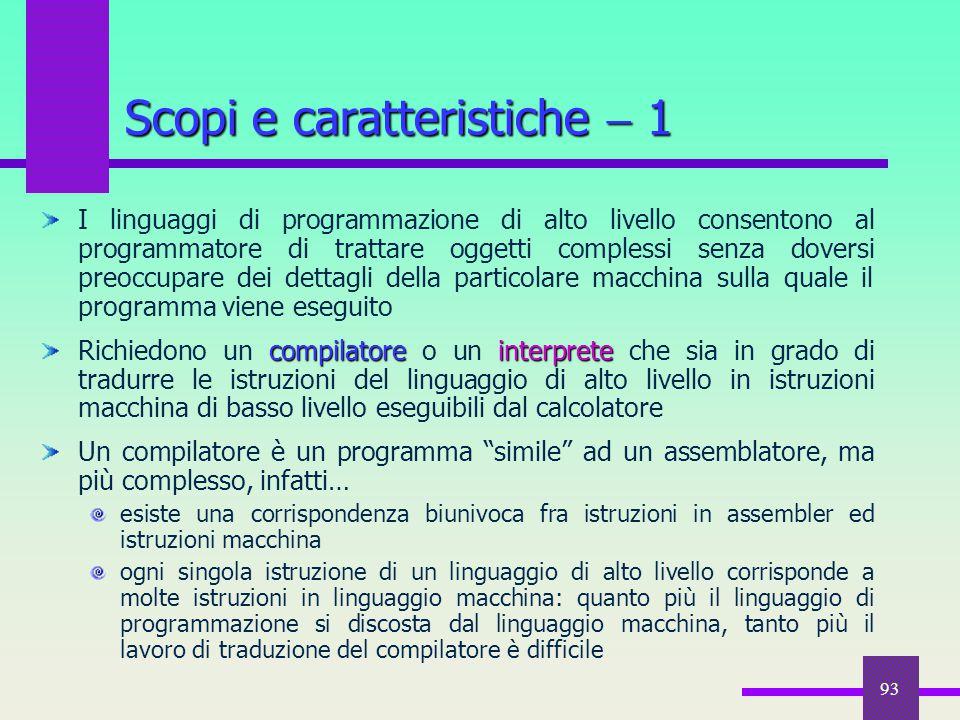 93 I linguaggi di programmazione di alto livello consentono al programmatore di trattare oggetti complessi senza doversi preoccupare dei dettagli dell