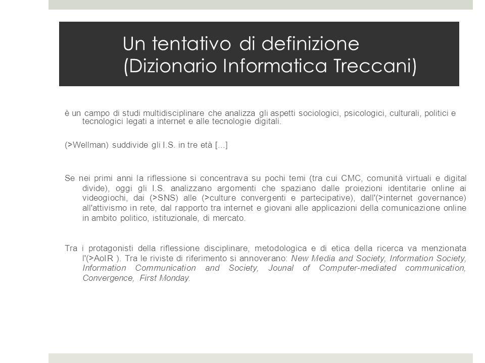 Un tentativo di definizione (Dizionario Informatica Treccani) è un campo di studi multidisciplinare che analizza gli aspetti sociologici, psicologici,