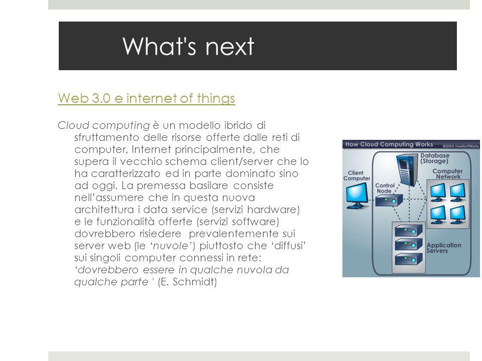 What's next Web 3.0 e internet of things Cloud computing è un modello ibrido di sfruttamento delle risorse offerte dalle reti di computer, Internet pr
