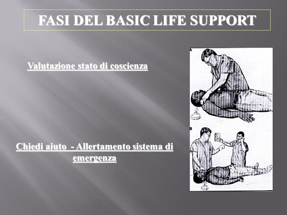 FASI DEL BASIC LIFE SUPPORT Valutazione stato di coscienza Chiedi aiuto - Allertamento sistema di emergenza