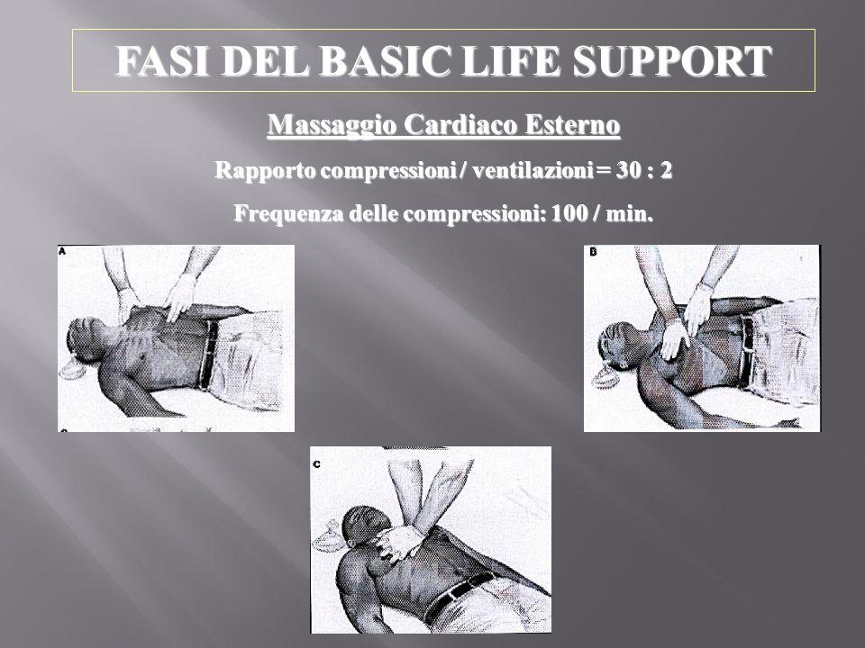 FASI DEL BASIC LIFE SUPPORT Massaggio Cardiaco Esterno Rapporto compressioni / ventilazioni = 30 : 2 Frequenza delle compressioni: 100 / min.