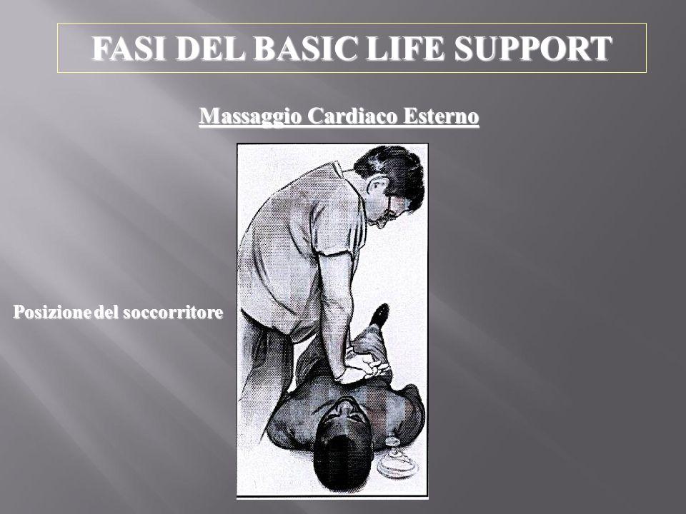 FASI DEL BASIC LIFE SUPPORT Massaggio Cardiaco Esterno Posizione del soccorritore