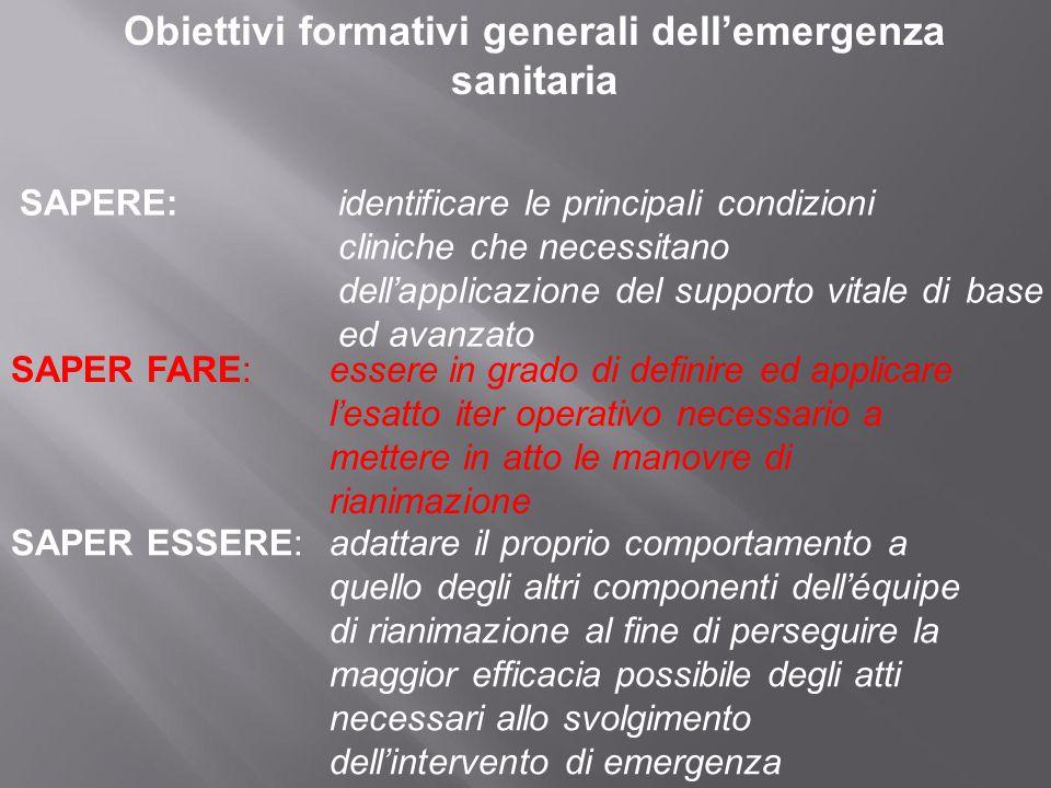 Obiettivi formativi generali dell'emergenza sanitaria SAPERE:identificare le principali condizioni cliniche che necessitano dell'applicazione del supp