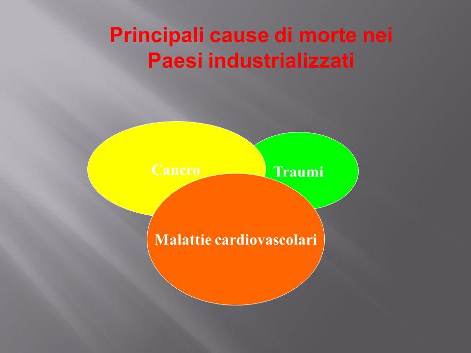 Principali cause di morte nei Paesi industrializzati Traumi Cancro Malattie cardiovascolari