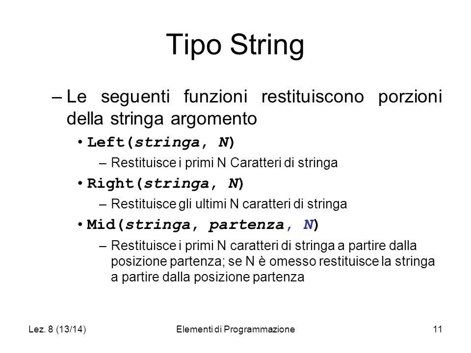 Lez. 8 (13/14)Elementi di Programmazione11 Tipo String –Le seguenti funzioni restituiscono porzioni della stringa argomento Left(stringa, N) –Restitui