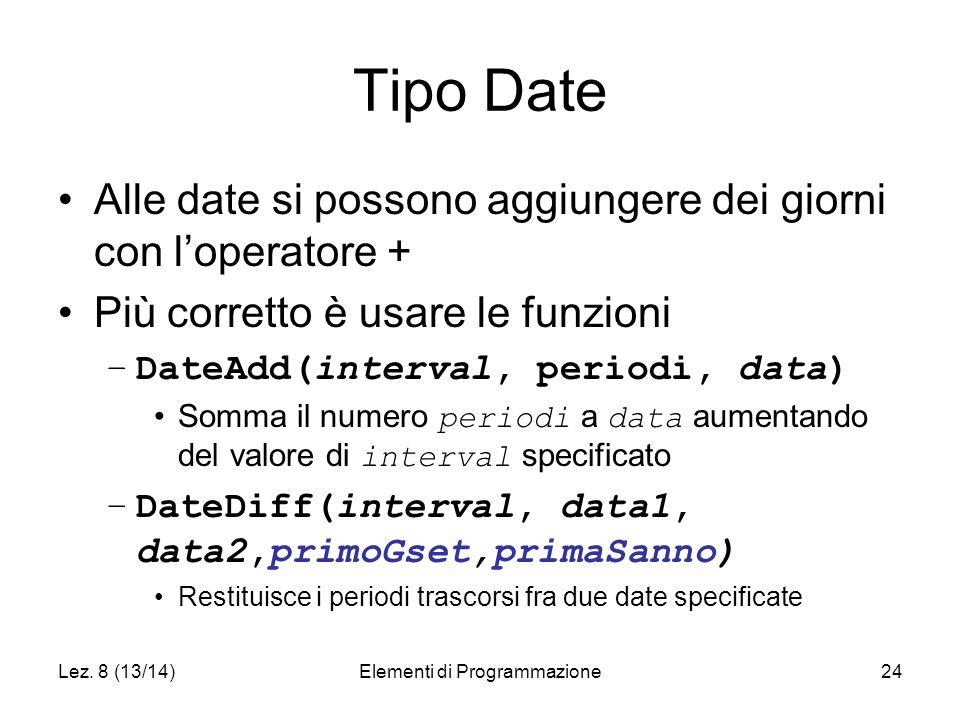 Lez. 8 (13/14)Elementi di Programmazione24 Tipo Date Alle date si possono aggiungere dei giorni con l'operatore + Più corretto è usare le funzioni –Da