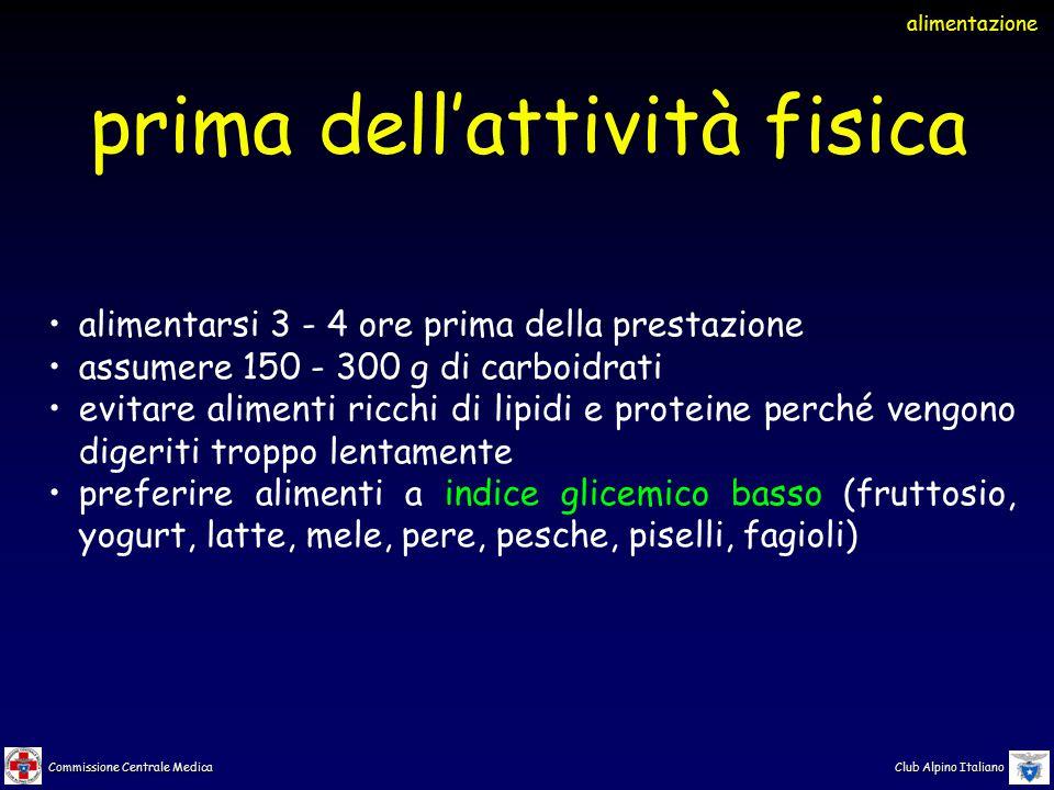 Commissione Centrale Medica Club Alpino Italiano alimentarsi 3 - 4 ore prima della prestazione assumere 150 - 300 g di carboidrati evitare alimenti ri