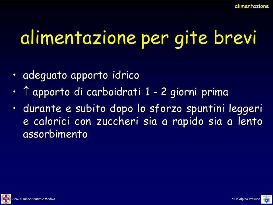 Commissione Centrale Medica Club Alpino Italiano adeguato apporto idricoadeguato apporto idrico  apporto di carboidrati 1 - 2 giorni prima  apporto