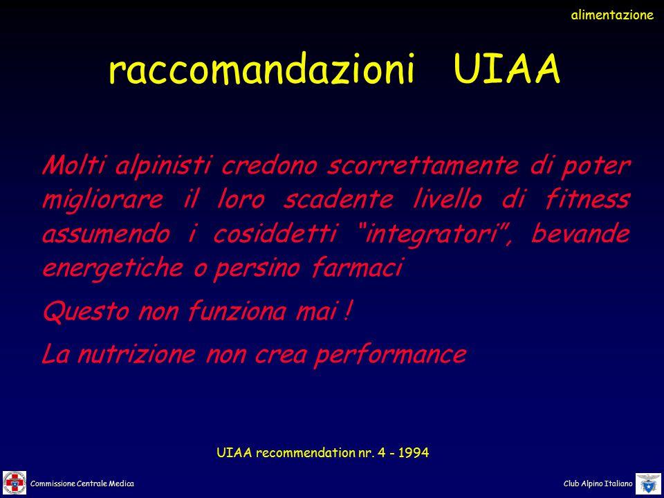 Commissione Centrale Medica Club Alpino Italiano Molti alpinisti credono scorrettamente di poter migliorare il loro scadente livello di fitness assume