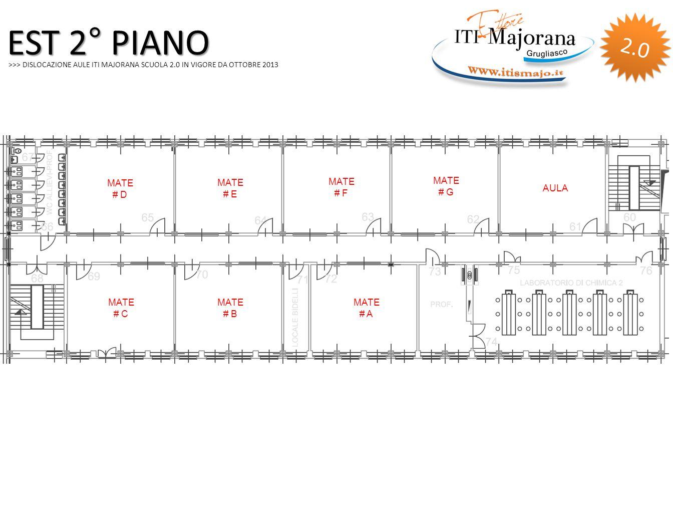 >>> DISLOCAZIONE AULE ITI MAJORANA SCUOLA 2.0 IN VIGORE DA OTTOBRE 2013 EST 2° PIANO MATE # D MATE # E MATE # G MATE # C MATE # B MATE # A AULA MATE # F