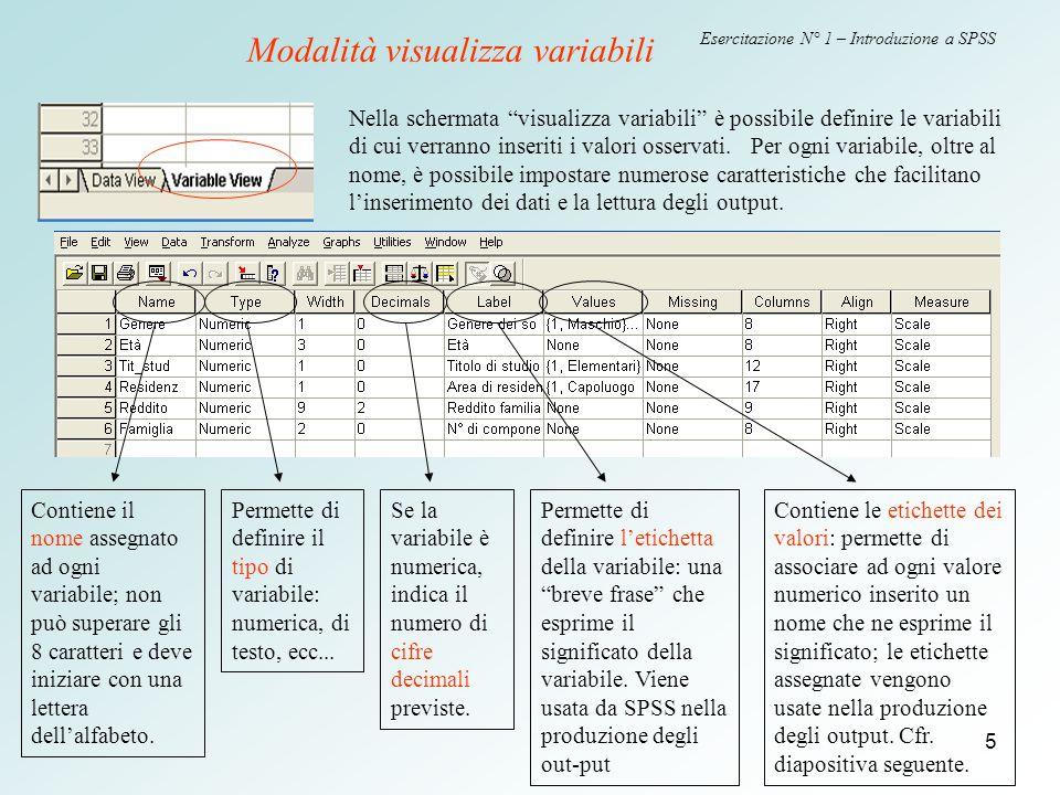 5 Esercitazione N° 1 – Introduzione a SPSS Nella schermata visualizza variabili è possibile definire le variabili di cui verranno inseriti i valori osservati.