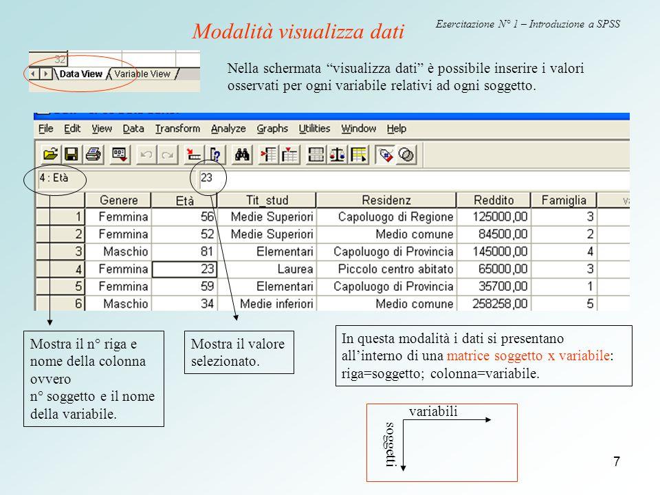 7 Esercitazione N° 1 – Introduzione a SPSS Nella schermata visualizza dati è possibile inserire i valori osservati per ogni variabile relativi ad ogni soggetto.