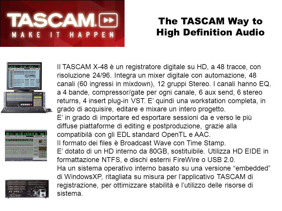 Il TASCAM X-48 è un registratore digitale su HD, a 48 tracce, con risoluzione 24/96. Integra un mixer digitale con automazione, 48 canali (60 ingressi