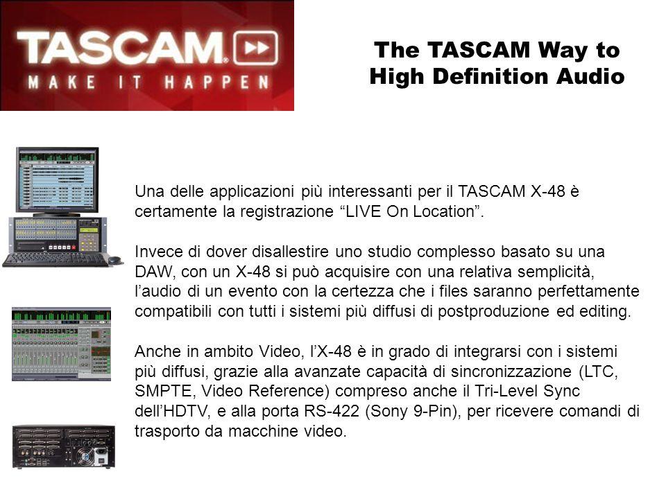 X-48e le Applicazioni Teatrali Il TASCAM X-48 si presta in modo particolare alla diffusione di contributi audio per musicals, spettacoli, etc.