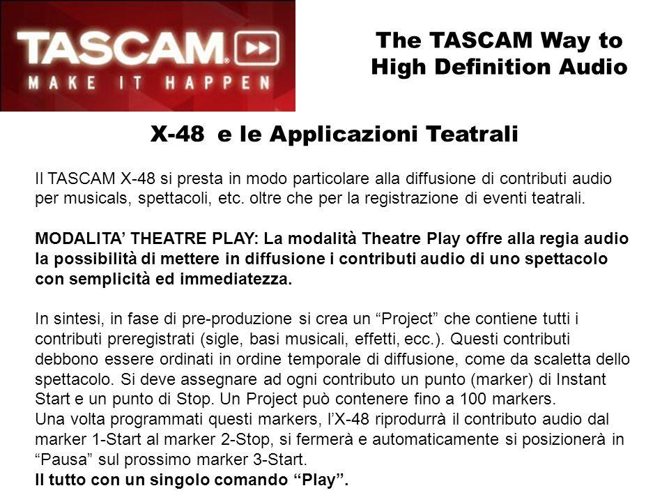 X-48e le Applicazioni Teatrali Il TASCAM X-48 si presta in modo particolare alla diffusione di contributi audio per musicals, spettacoli, etc. oltre c