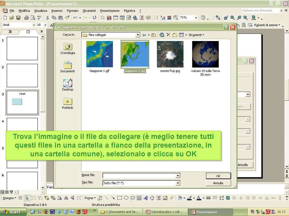Trova l'immagine o il file da collegare (è meglio tenere tutti questi files in una cartella a fianco della presentazione, in una cartella comune), selezionalo e clicca su OK